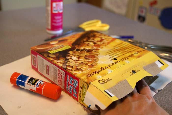 mock canvas made from granola box