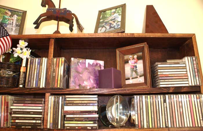mock canvas on bookshelf