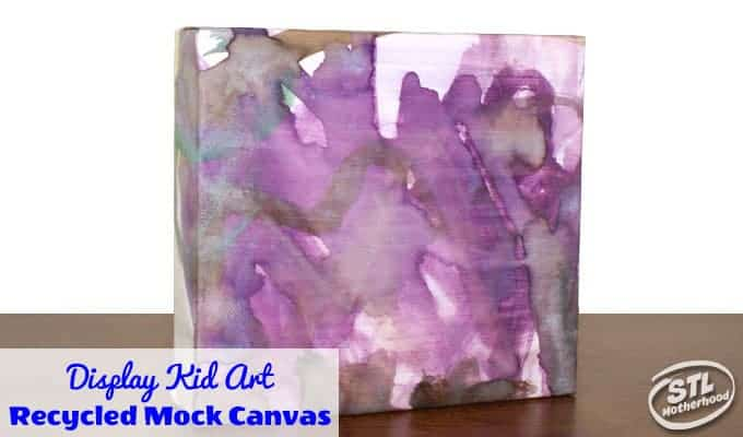 recycle box into canvas with kid art