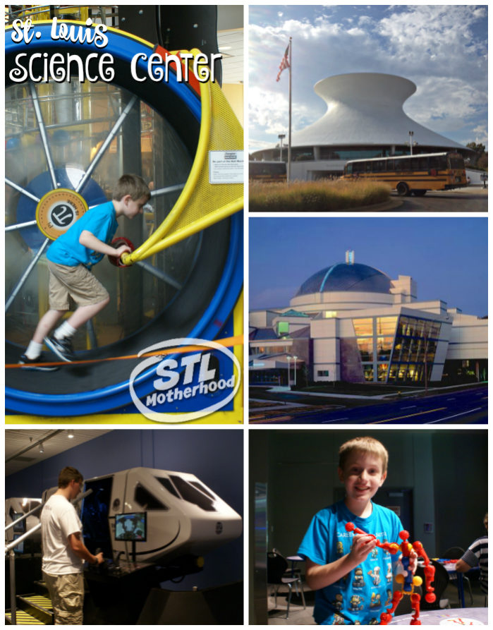St. Louis Science Center collage: kid running on human hamster wheel, photo of the building, looking a flight simulator ride, playing with a building toy