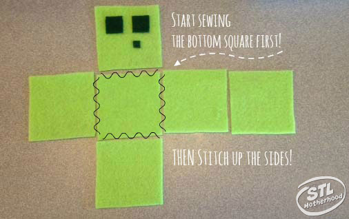 pattern for sewing a Minecraft cube from felt