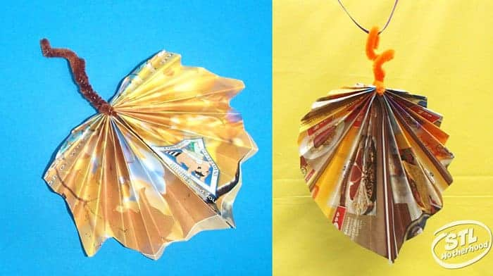 leaves from recycled magazines