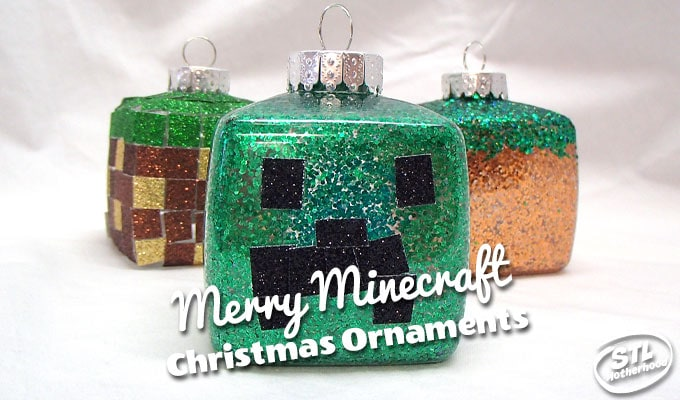Minecraft Christmas Ornaments: cubes decorated with glitter to look like grass blocks and creeper head