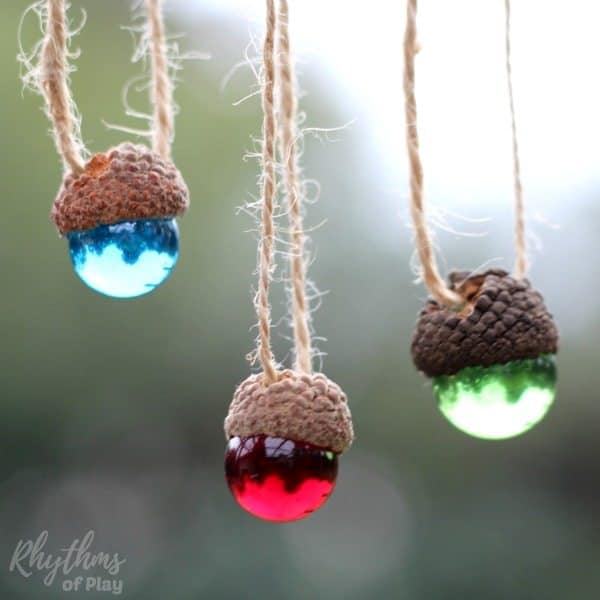 Acorn Marble Christmas Ornaments