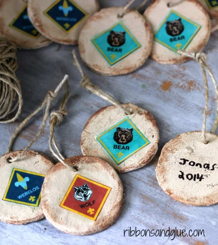 DIY Rustic Salt Dough Cub Scout Ornaments