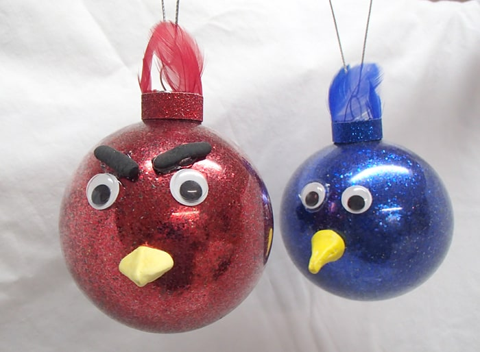 angry bird Christmas glitter ornament