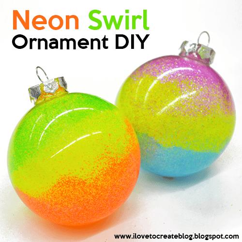 Neon Swirl Glitter Ornaments