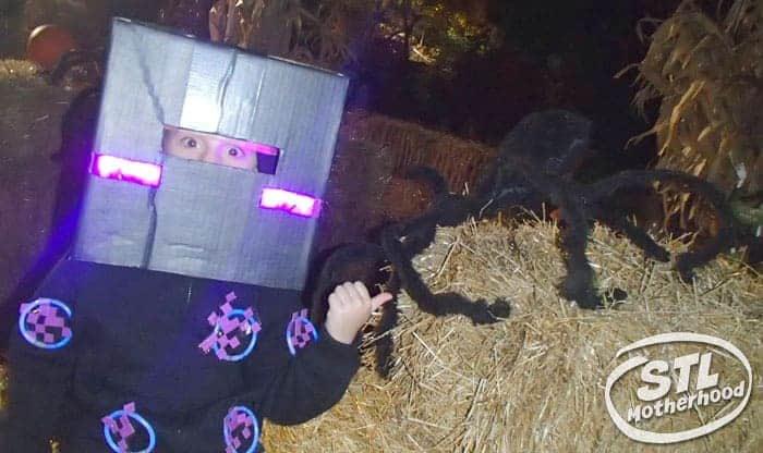 Kid in Minecraft enderman costume at Boo at the Zoo in St. Louis