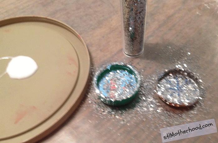 bottlecap magnet glitter