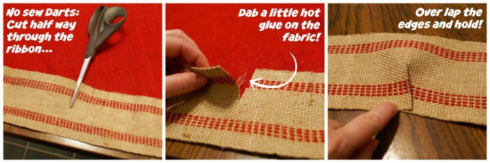 how to make a no sew dart with burlap trim