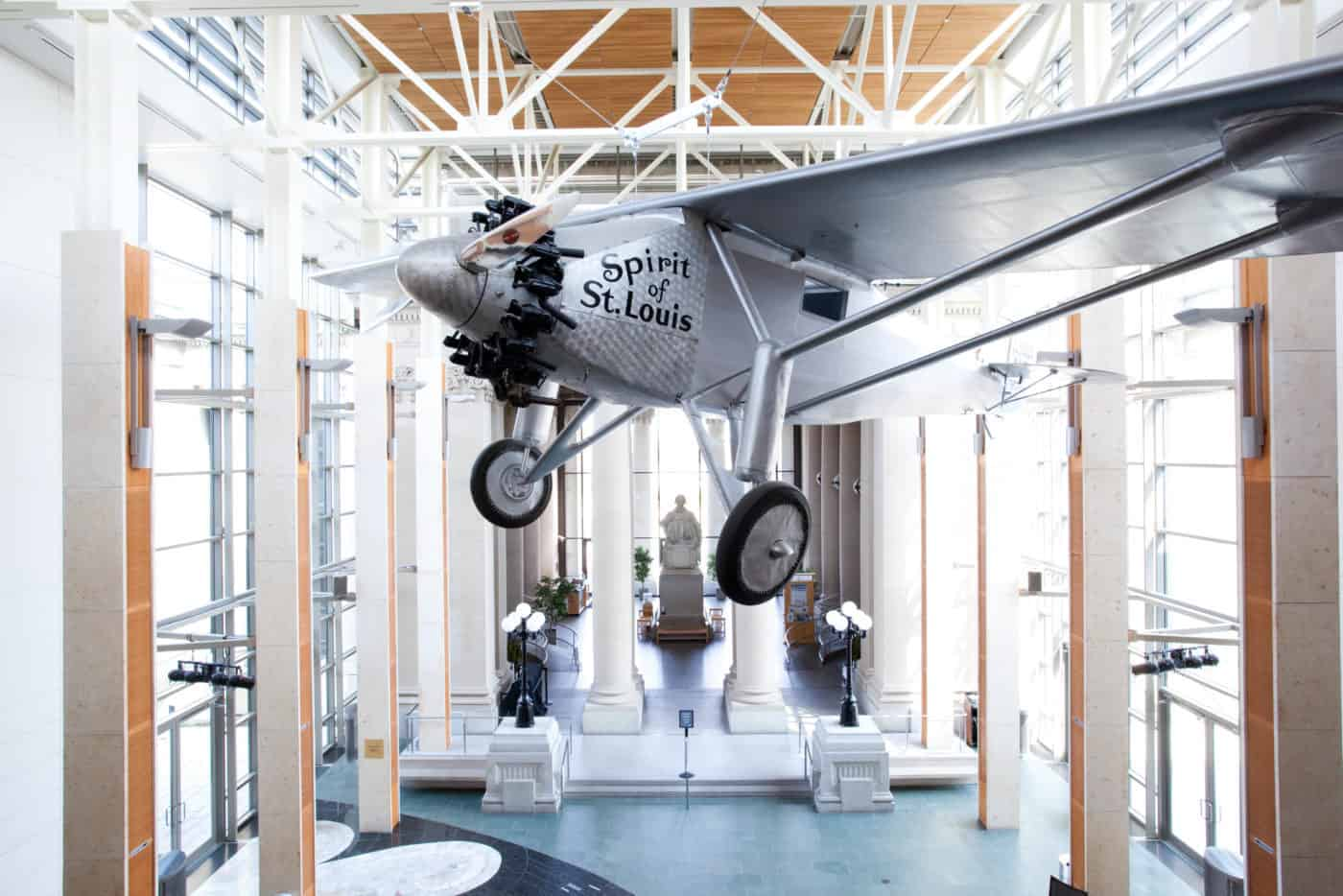 Spirit of St. Louis airplane at the free Missouri History Museum in St. Louis