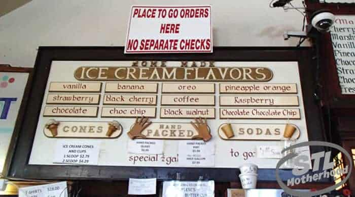 Crown Candy ice cream menu in St. Louis city