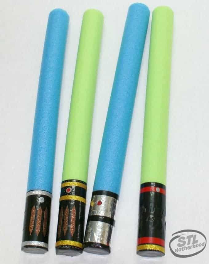 Star Wars pool noodle light sabers
