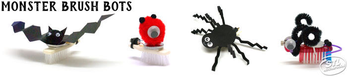 Halloween Brush Bots : bots with a bat, a one eyed monster, a spider and something with weird horns.
