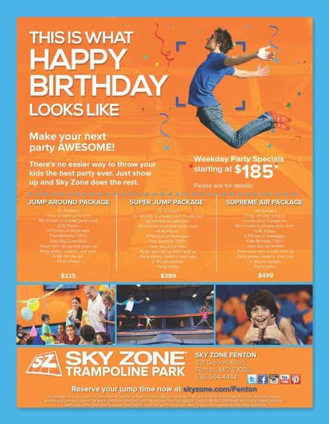 SkyZone Party Flyer