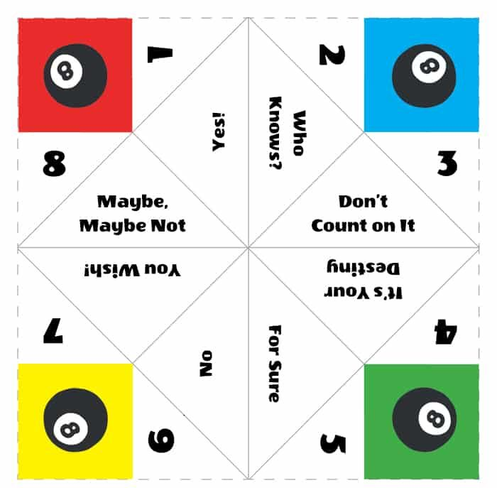 Magic 8 Ball Paper fortune teller