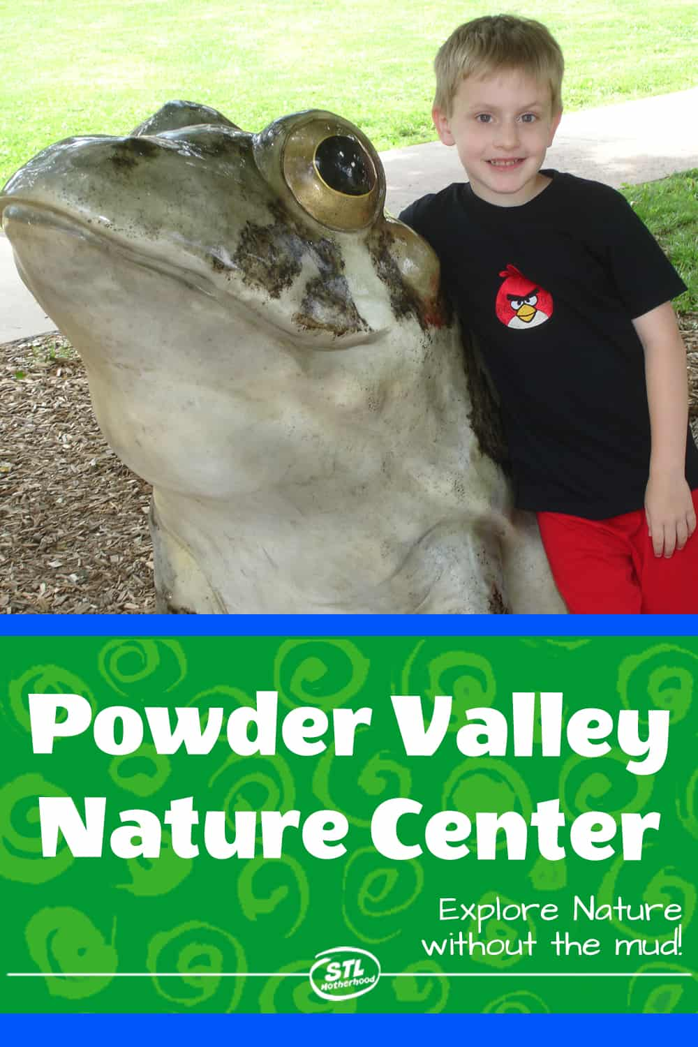 kid with frog statue at Powder Valley