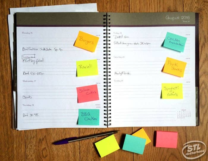 meal planner sticky notes
