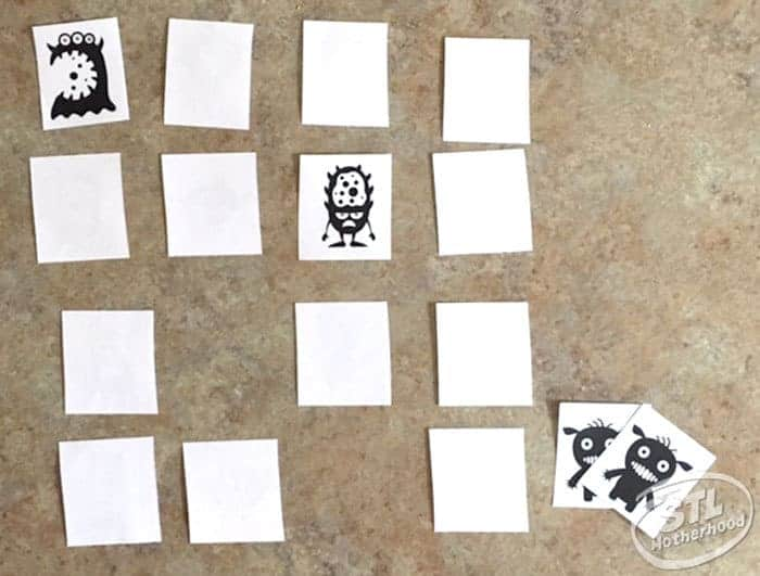 memory game card example: shows white cards with cute monsters