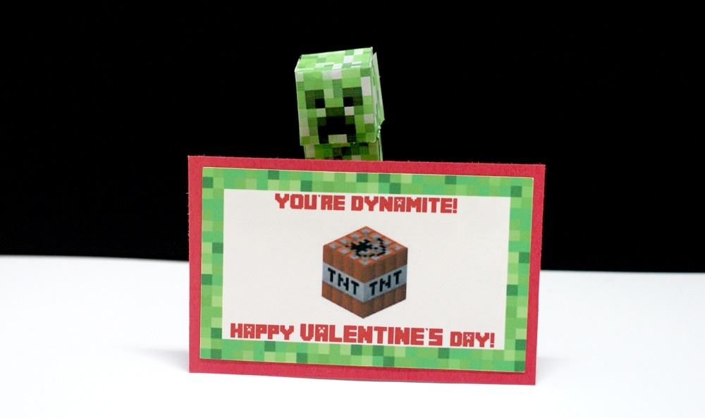 Minecraft creeper holding up Valentine card