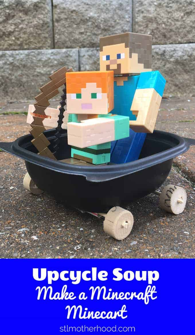 This Minecraft minecart was made from recycled Chick-fil-A soup bowl