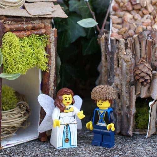 Fairy House DIY from milk cartons with LEGO fairies