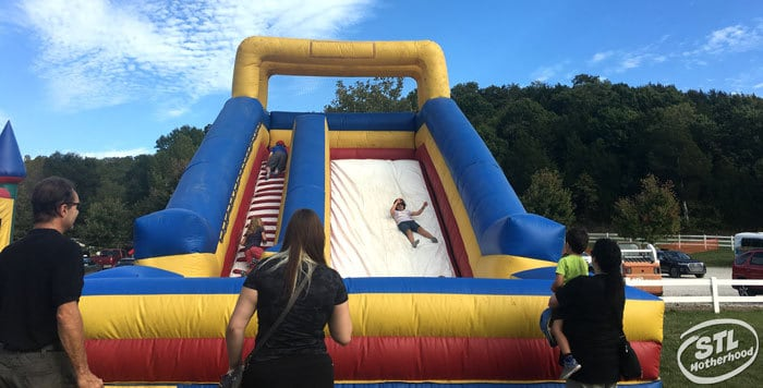 the inflatable slide at Brookdale farm corn maze