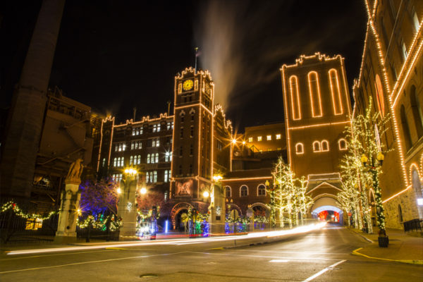 Buildings light up at Brewery Lights in St. Louis