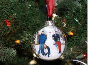 floating plastic ornament family photo