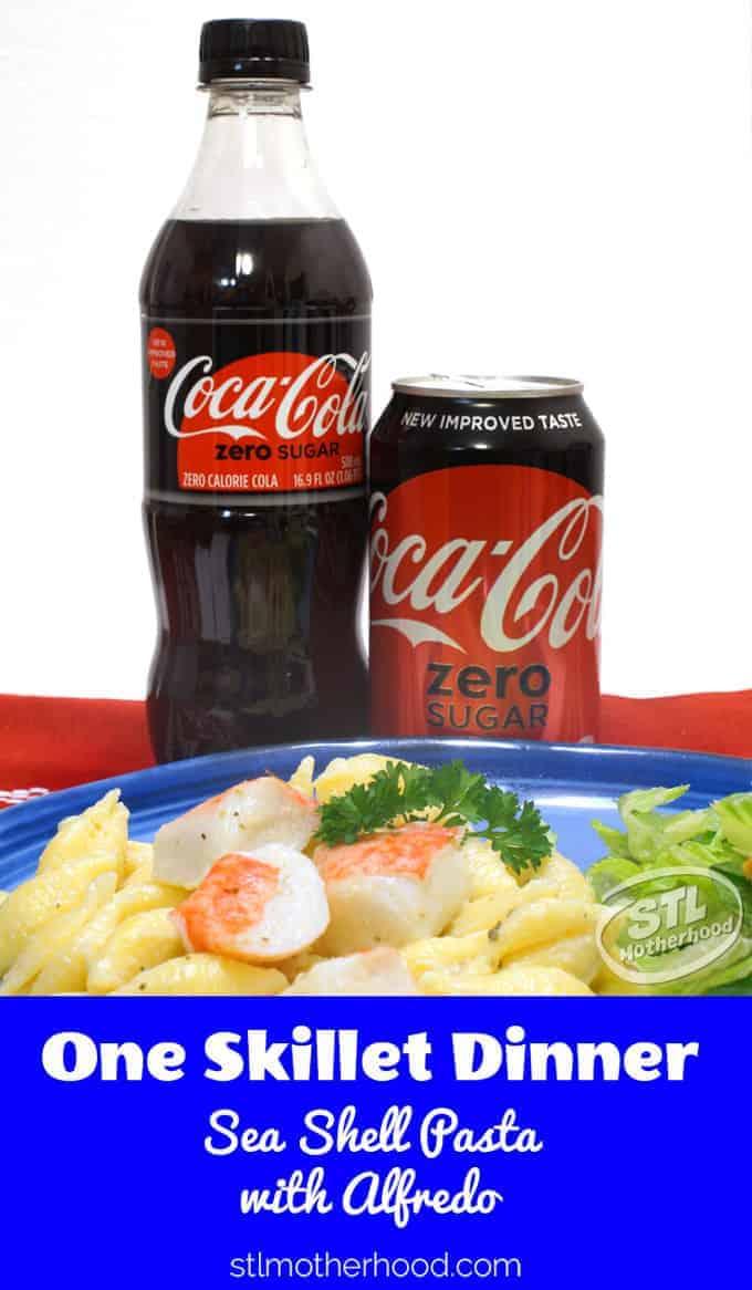 One skillet Sea Shell Pasta and Coke Zero