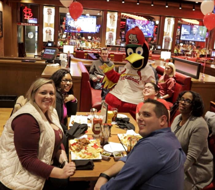 At St. Louis Cardinals Nation restaurant kids eat free and get to meet Fredbird!