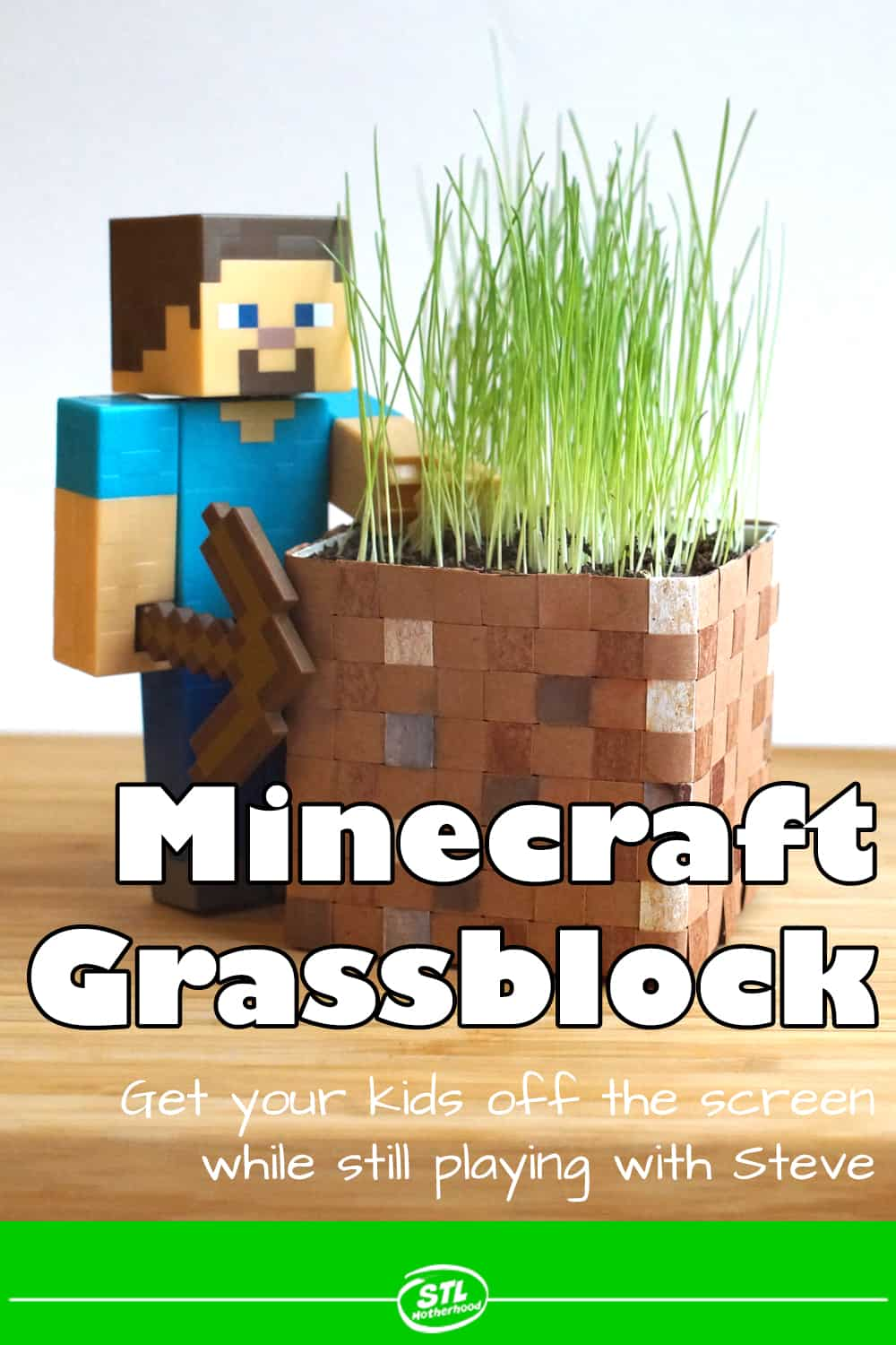 Minecraft Steve action figure with real grass growing from a handmade block