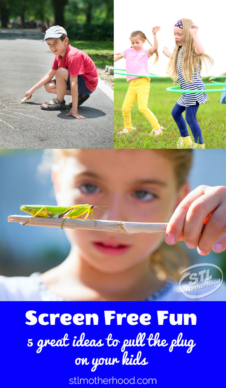 kids with bugs, with chalk, with hulahoop