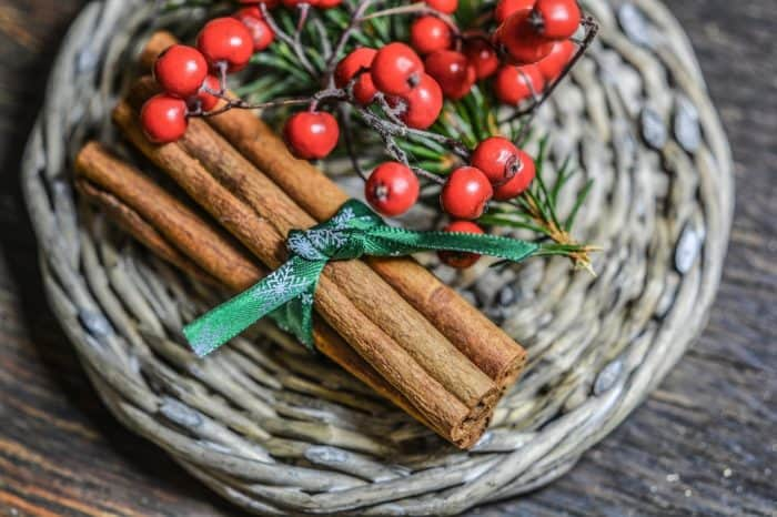 cinnamon sticks and red berries on a woven trivet