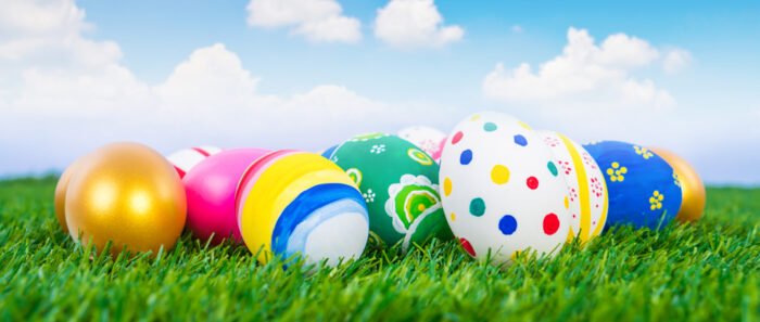 dyed easter eggs on grass