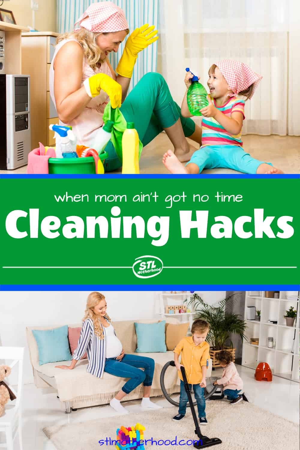 moms cleaning with kids