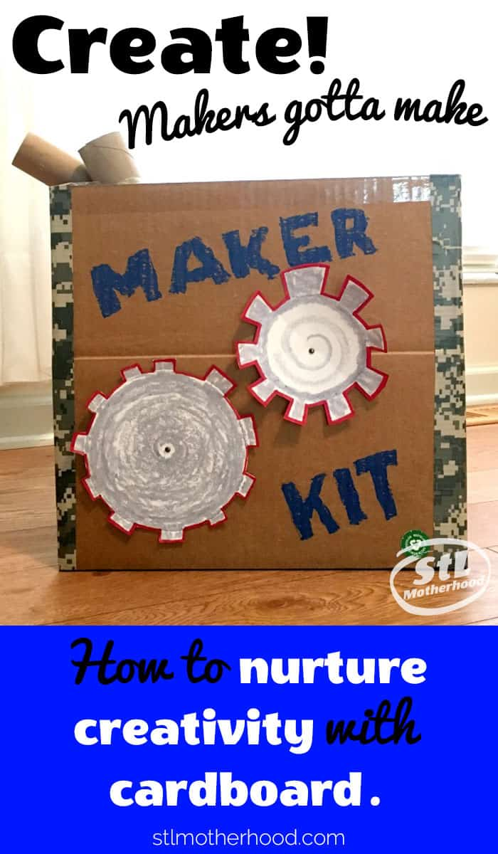 cardboard box with paper gears filled with craft supplies