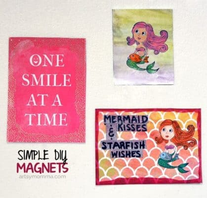Mixed media art magnet made by coloring a mermaid rubber stampl