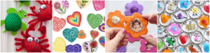 colorful refrigerator magnets made by kids