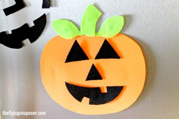 Pumpkin fridge magnet made from foam sheets