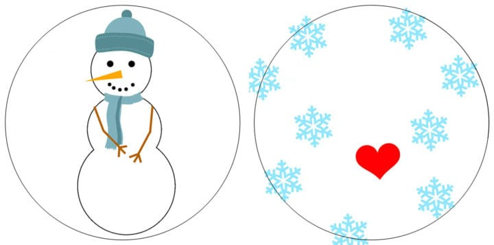2 circles: Snowman with blue hat in one circle, snowflakes and heart in other