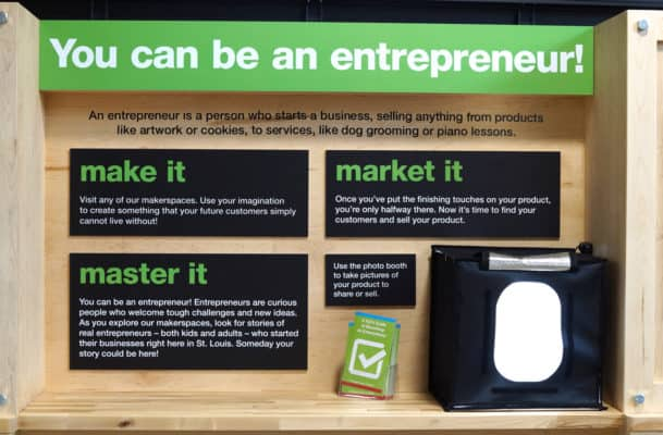 Entrepreneur display shows kids how to market their creations.