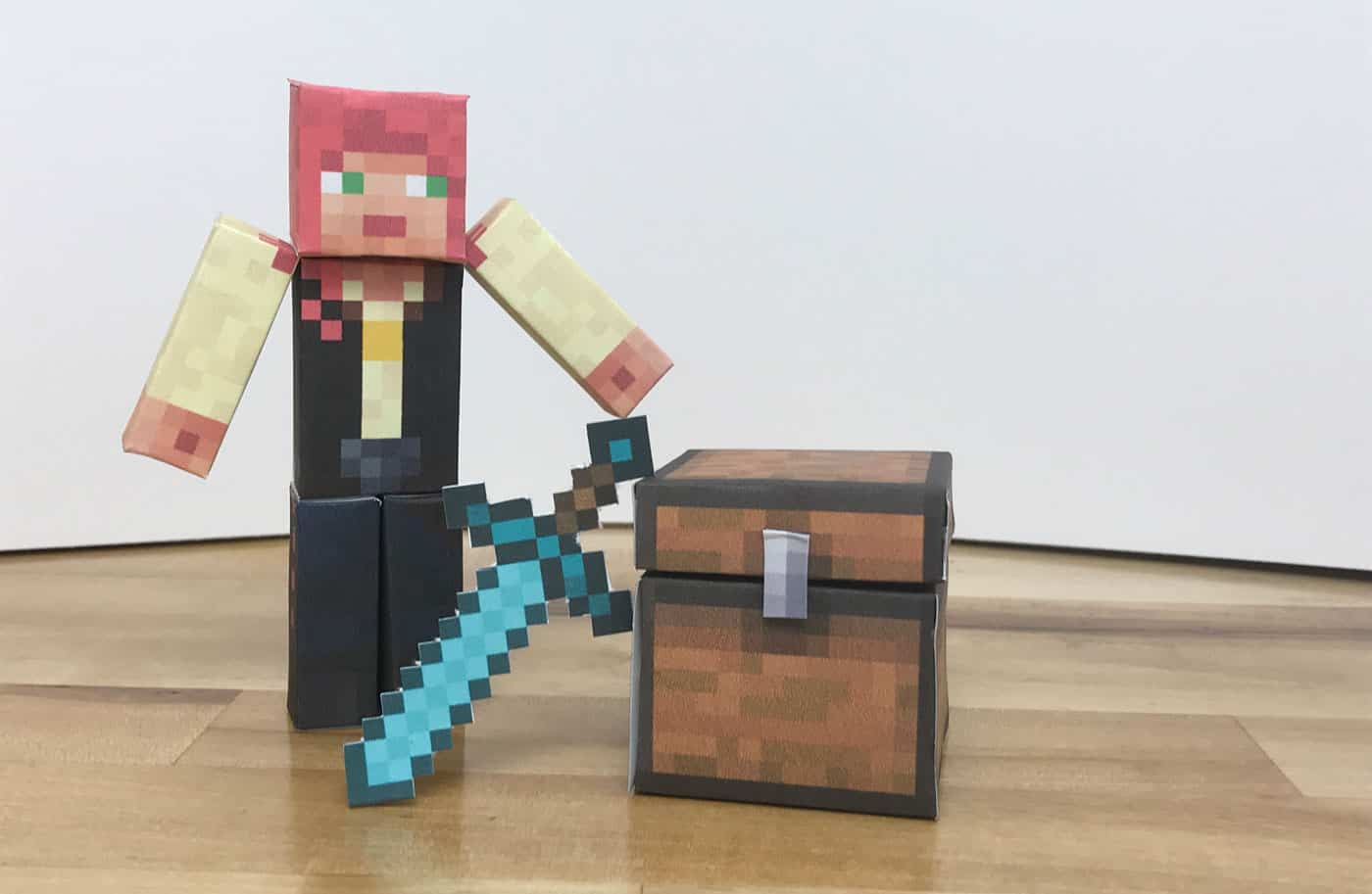 Minecraft player character printed on paper and made into a 3D toy.