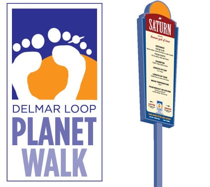 delmar loop planet walk logo -- foot prints on a sun -- with a sample sign showing Saturn.