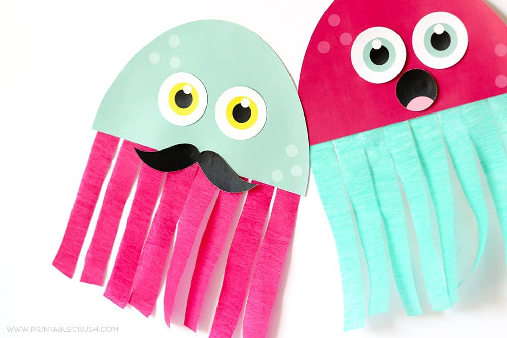 paper jelly fish, flat. One has mustache.