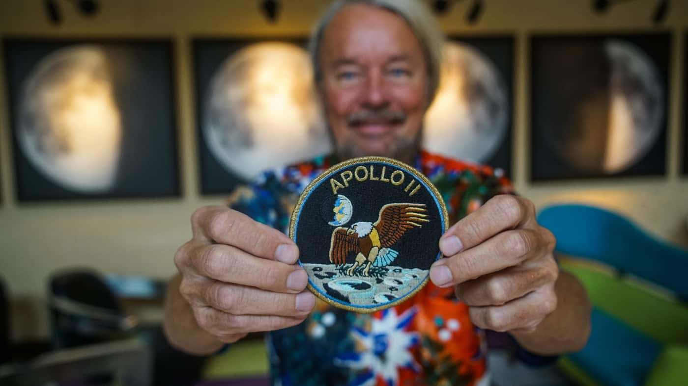 Joe Edwards with an Apollo 11 patch