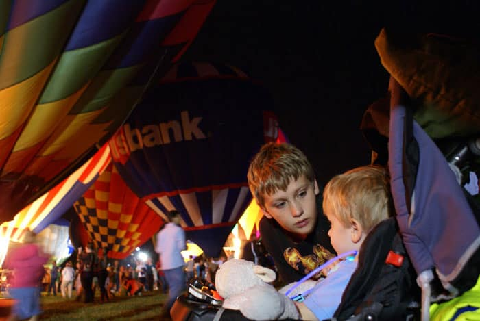 Boys chatting at the Balloon Glow
