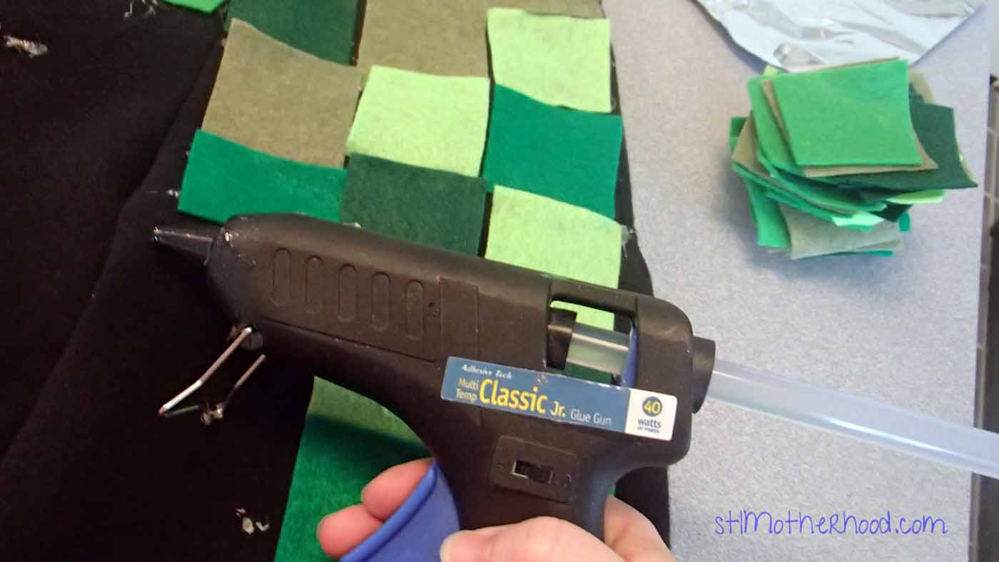 glue gun for sticking felt on Minecraft creeper costume