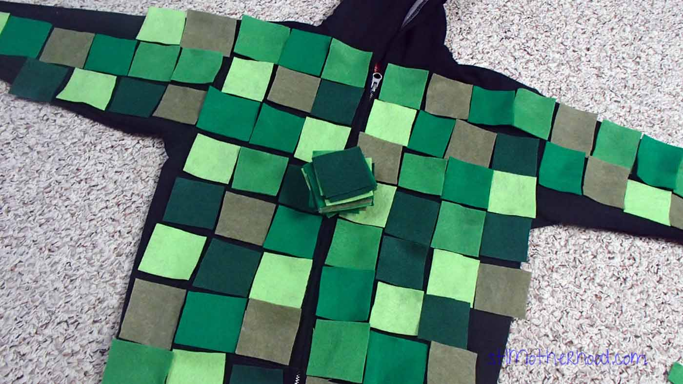 felt squares on hoodie for Minecraft creeper costume