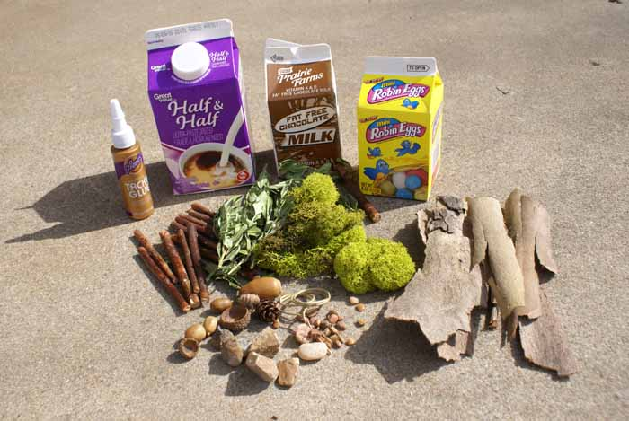 fairy house supplies - dairy cartons, glue, sticks, moss, rocks and bark